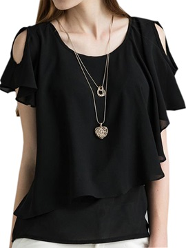 Asymmetrical Ruffle Sleeves Chiffon Blouse