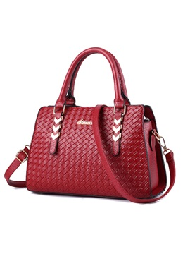 Woven Style With Arrow Shaped Metal Womens Satchel