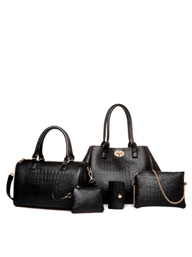 Chic Croco Embossed Womens Bag Set Five Bags