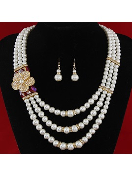 Multilayer Pearls Metal Flower Women Jewelry Set