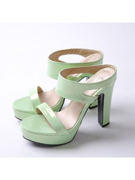 Solid Color Pu Slip On Platform Sandals