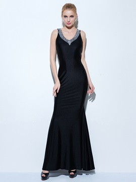 Sexy Straps Beading Sheath Black Evening Dress