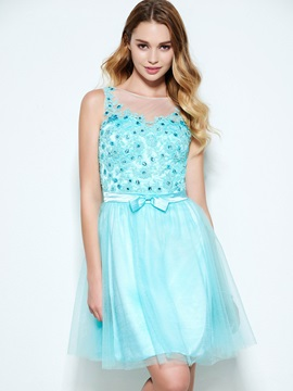 Sheer Neck Appliques Beading Backless Homecoming Dress