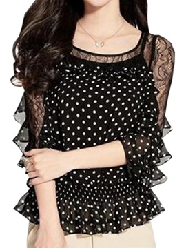 Stylish See Through Sleeves Polka Dots Blouse