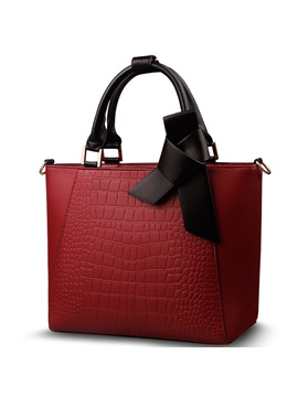 Croco Embossed With Bowknot Womens Tote Bag