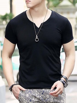 Plain V Neck Mens Slim Fit Tee