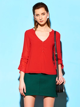 Special Back V Neck Blouse