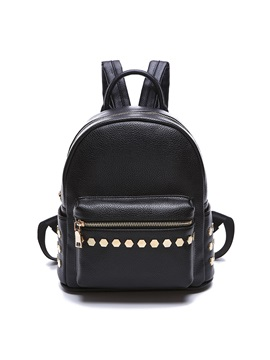 Ol Style Pure Color Rivets Decorated Backpack