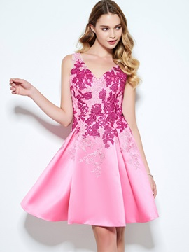 Delicate Straps Appliques Short Homecoming Dress