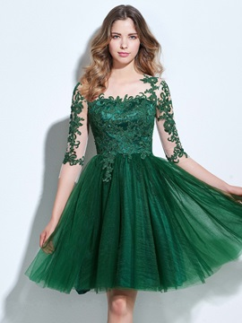 3 4 Length Sleeves Appliques Button Knee Length Homecoming Dress