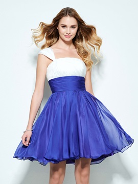 Concise One Shoulder A Line Pleats Short Homecoming Dress