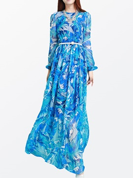 Floral Print Long Sleeve Belt Maxi Dress