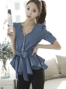 Stylish Dress Hem Denim Blouse