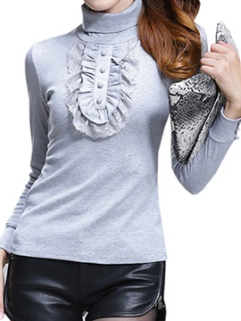 Stylish Falbala Decoration High Collar T Shirt