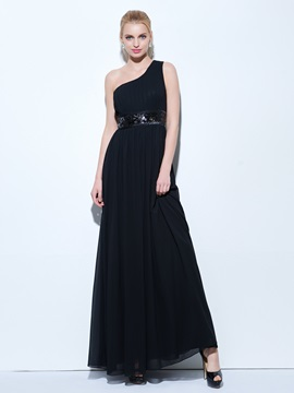 One Shoulder Pleats Sequins Black Evening Dress