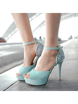 Sequins Peep Toe Ankle Strap Sandals