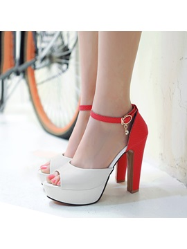 Contrast Color Pu Peep Toe Sandals