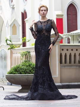 Scoop Neck Long Sleeves Appliques Long Black Evening Dress