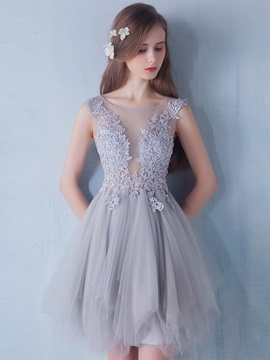 Elegant Straps Appliques Tulle Mini Homecoming Dress