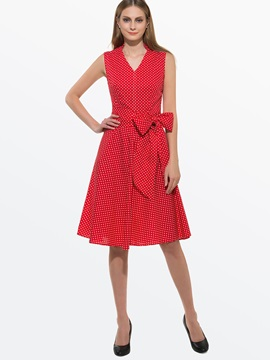 Polka Dots V Neck Bowknot Skater Dress