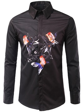 Goldfish Print Casual Mens Long Sleeve Shirt