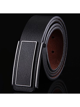 Business Solid Color Leather Mens Belt
