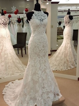 Classic Halter Appliques Trumpet Lace Wedding Dress