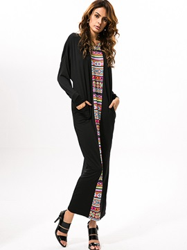 Print Long Sleeve Patchwork Maxi Dress