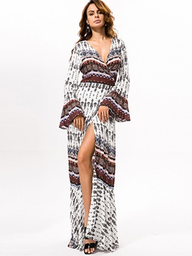 V Neck Split Bohemian Maxi Dress