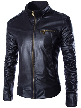 Zipper Stand Collar Mens Plain Pu Jacket