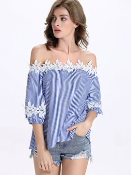 Special Lace Flower Decoration Off Shoulder Blouse