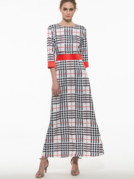 Plaid 3 4 Sleeve Maxi Dress