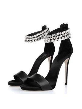 Rhinestone Ankle Strap Back Zip Sandals