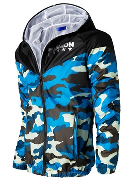 Camouflage Hooded Mens Casual Jacket