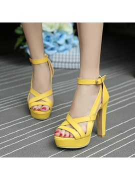 Simple Pu Buckles Chunky Heel Sandals