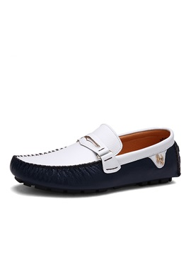 Contrast Color Pu Slip On Driving Shoes