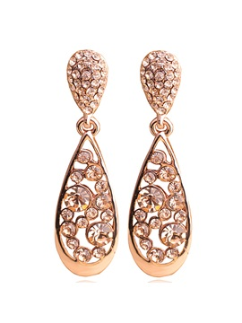 Champagne Water Drop Full Rhinestones Earrings