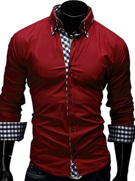Plaid Patch Long Sleeve Mens Cotton Blends Shirt