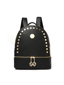 Regular Hexagon Rivets Decor Shell Backpack