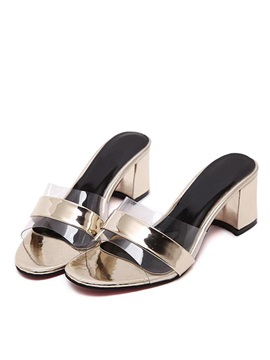 Metallic Pvc Patchwork Chunky Heel Sandals