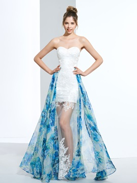 A Line Sweetheart Appliques Printed Prom Dress