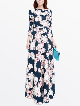 Floral Print 3 4 Sleeve Empire Waist Dress