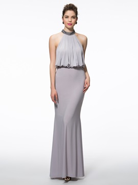 Elegant Halter Beading Sheath Evening Dress