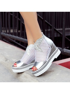Rhinestone Mesh Patchwork Wedge Sandals