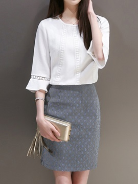 White Top Falbala Sleeve Hollow Gray Skirt Suit