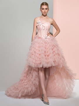 Dramatic Strapless Bowknot Lace Tiered High Low Prom Dress