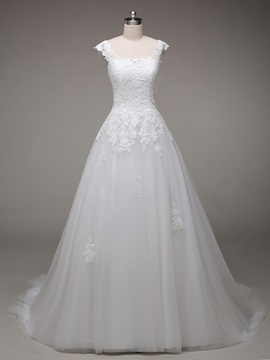 Beautiful Appliques Floor Length A Line Wedding Dress