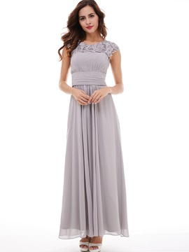 Cheap Bateau Neck Cap Sleeves Beading Lace Evening Dress