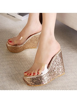 Pvc Sequins Slip On Wedge Sandals