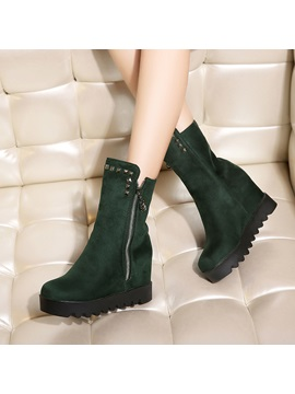 Suede Rivets Elevator Heel Zippered Booties